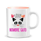 """LOVE gato"" Taza personalizada color interior"