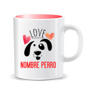"""LOVE perro"" Taza personalizada color interior"